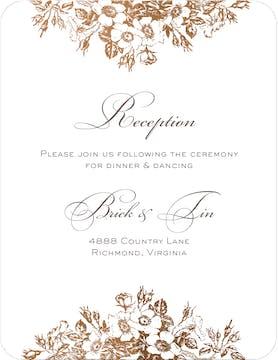 Bouquet Border Foil Pressed Reception Card