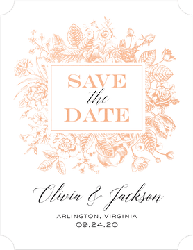 Boxed Blooms Foil Pressed Save The Date Card