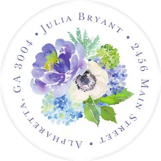 Heirloom Hydrangea Shower Round Address Sticky