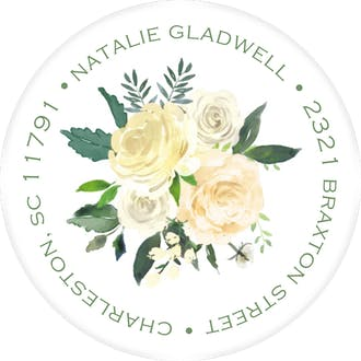 Bridal Blooms Round Address Sticky
