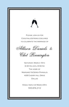 Etched Border - Blue Invitation