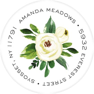 Charming Flower Round Address Sticky