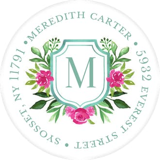 Flower Monogram Round Address Sticky