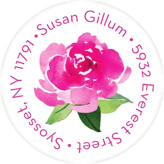 Peonie Surprise Round Address Sticky