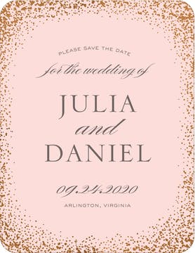 Confetti Sparkle Foil Pressed Save The Date Card