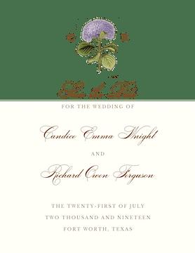 Hydrangea Bloom Save The Date Card on White Eggshell (cream)