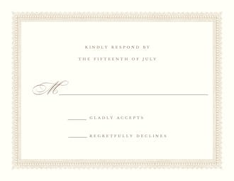 Elegant Border Response Card on White Eggshell (cream)