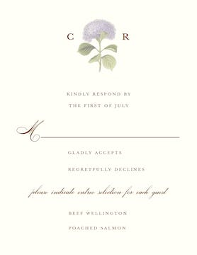 Hydrangea Bloom Response Card on White Eggshell (cream)
