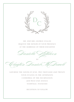 Provincial Garland Wedding Invitation