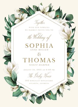 Southern Magnolia Wedding Invitation