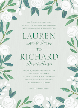 Chalk Flowers Wedding Invitation