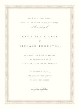 Elegant Border Invitation on White Eggshell (cream)
