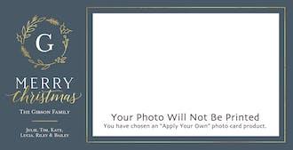 Holly Monogram Print & Apply Holiday Photo Card