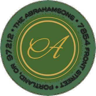 Holiday Elegance-Green Round Address Sticky