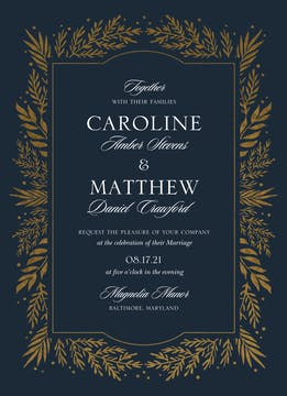 Gilded Garden Foil-Pressed Wedding Invitation