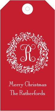 Elegant Holiday Wreath on Red Hanging Gift Tag