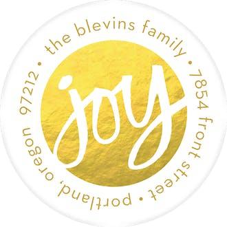 Joy (Faux) Foil Round Address Sticky