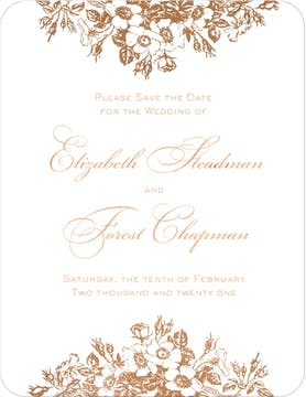 Bouquet Border Foil Pressed Save The Date Card