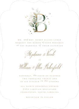 Ethereal Initial Wedding Invitation
