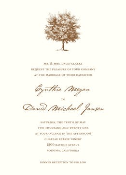 Under The Oak Invitation on White Eggshell (cream)