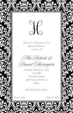 Vintage Damask - Black Invitation