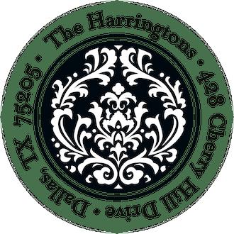 Vintage Damask - Black Round Address Sticky
