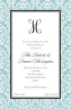 Vintage Damask - Blue Invitation