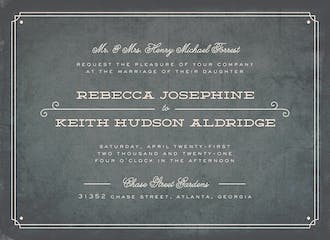 Vintage Slate Wedding Invitation