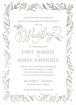 Gleaming Leaf Foil Pressed Invitation