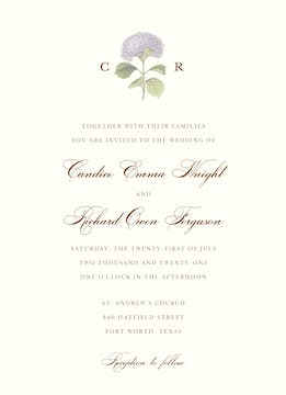 Hydrangea Bloom Invitation