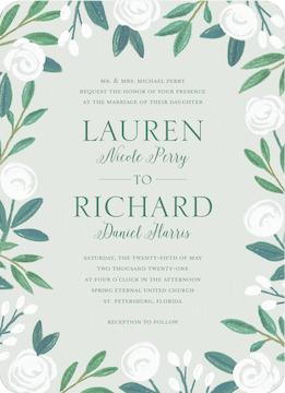Chalk Flowers Wedding Invitation