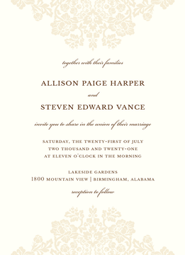 Wedding Bliss Invitation on White Eggshell (cream)