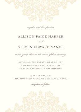 Wedding Bliss Invitation on White Eggshell (cream)