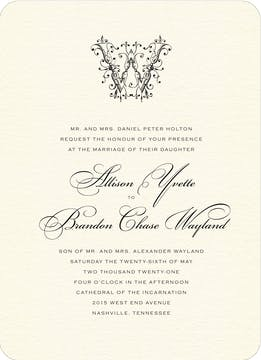 Ornate Monogram Wedding Invitation