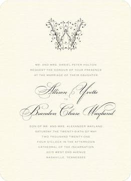 Ornate Monogram Wedding Invitation