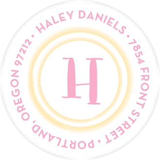 Watercolor Border - Yellow Round Address Sticky