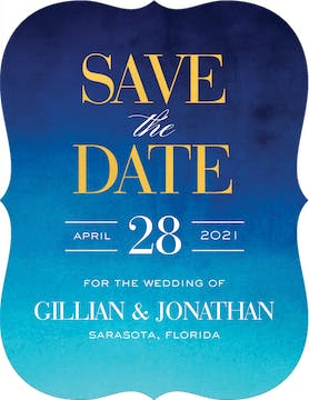 Watercolor Shine Foil Pressed Save The Date Card