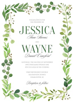 Painted Foliage Invitation