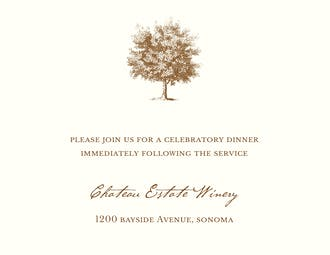 Under The Oak Reception Card on White Eggshell (cream)