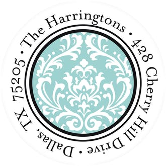 Vintage Damask - Blue Round Address Sticky