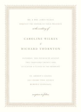 Elegant Border Invitation on White Eggshell (cream)