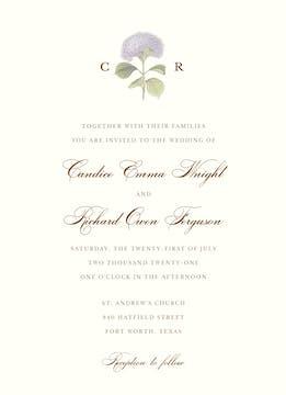 Hydrangea Bloom Invitation