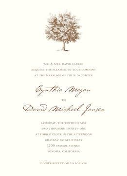 Under The Oak Invitation on White Eggshell (cream)