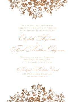 Bouquet Border Foil Pressed Invitation
