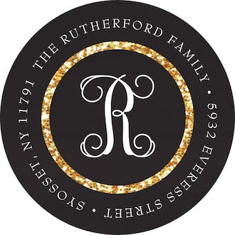A Dash Of Sparkle Round Address Sticky