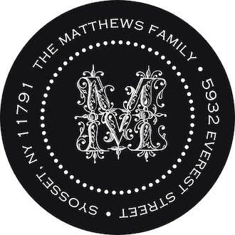 Monogrammed Simplicity Round Address Sticky