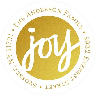 Golden Joy Round Address Sticky