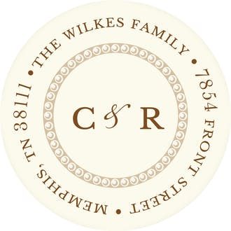 Elegant Border Round Address Sticky on White Eggshell (cream)
