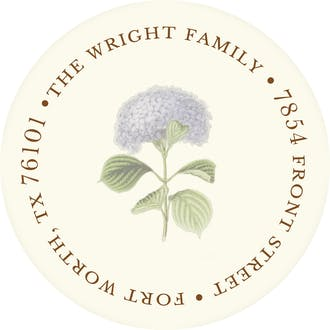 Hydrangea Bloom Round Address Sticky
