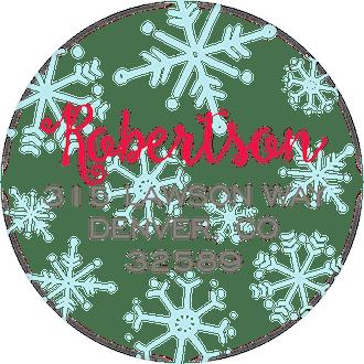 Merry Christmas Snowflakes Round Return Address Sticker